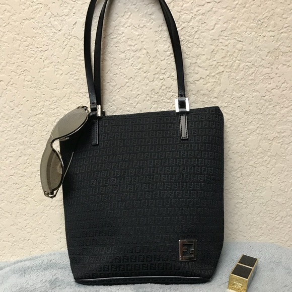 2997c80aff8 Fendi Handbags - Fendi Black Canvas Monogram Mini Tote Bag